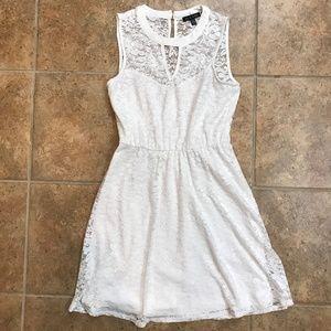 As U Wish White Lacy Keyhole Sleeveless Dress